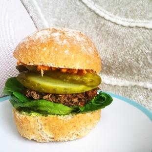 Fig+Rye Black Bean Burger Spelt Roll