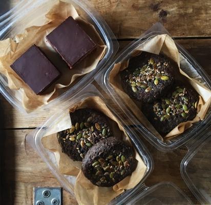 Fig+Rye Burgers and brownies